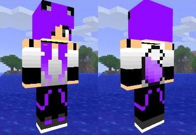 Скин девушки с фиолетовыми волосами